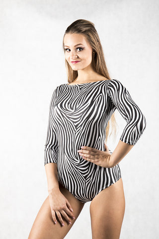 stunning dance body with 3/4 sleeves in zebra print from dancewear for you australia