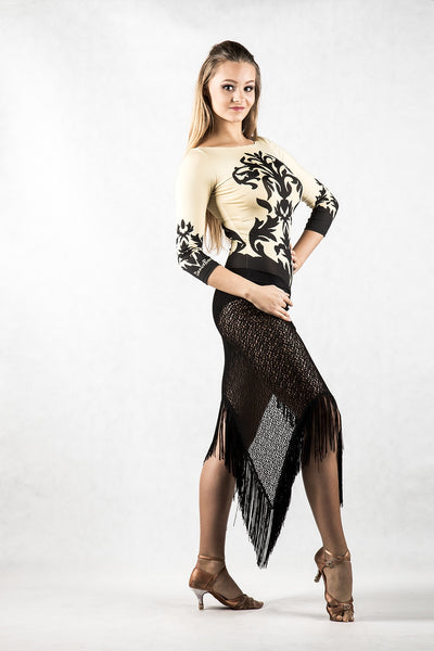 dancebox 3/4 sleeve stretch body made with liquid silk jersey with gorgeous print from dancewear for you australia