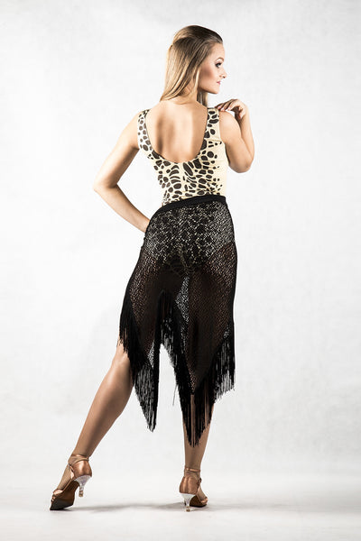 dancebox sleeveless liquid silk jersey stretch leotard with low back and animal print from dancewear for you australia