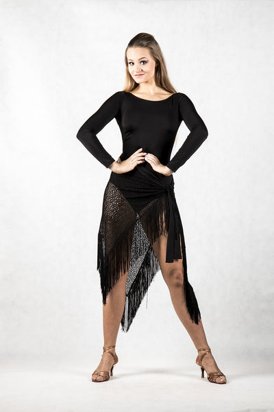 gorgeous black ladies leotard with long sleeves and stretch lace back made with liquid silk jersey and stretch lace from dancewear for you australia