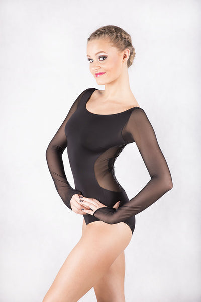 black ladies leotard with sheer mesh long sleeves and sheer mesh back from dancewear for you australia