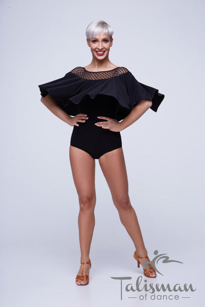Stylish and versatile bodysuit for dancewear, evening wear and special occasions paired with any skirt or pants. The wrap around cape / sleeves add tonnes of movement!  Great for performance or DanceSport from dancewear for you australia