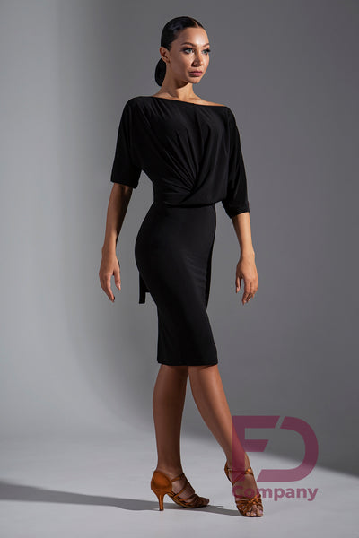 Stretch Crepe Latin Dress with 3/4 Sleeves, Wide Neckline that can be worn on or off the shoulder, faux twist/cross over, draping detail to the front and a tie back provide a gorgeous look.  Perfect for Evening Wear, Social Dancing, Practice or Performance.