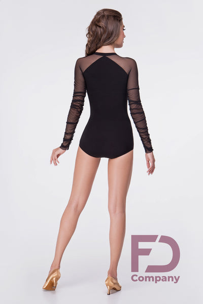 Bodysuit for dancewear or evening wear made with stretch crepe and mesh for a professional look. Perfect for Evening Wear, Social Dancing, Practice or Performance.
