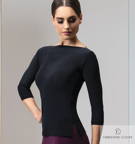 chrisanne clover eternity ladies fitted crepe top for dancewear and eveningwear with slash neckline and 3/4 sleeves from dancewear for you australia free shipping