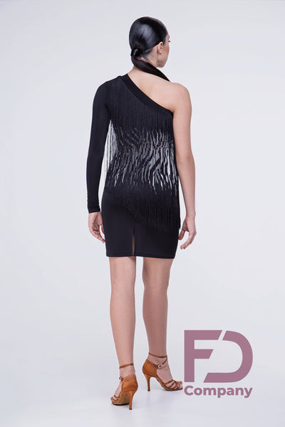 asymmetrical latin dress with long fringe from dancewear for you australia, dancesport latin dress