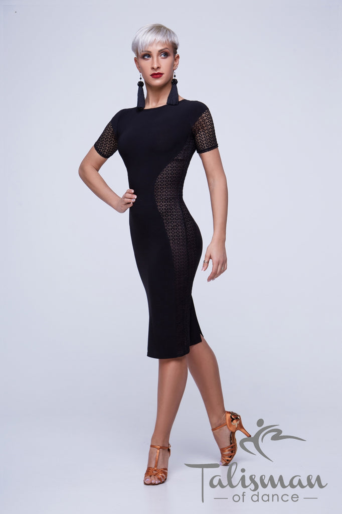 Black Slimline Latin & Cocktail Dress PL-949