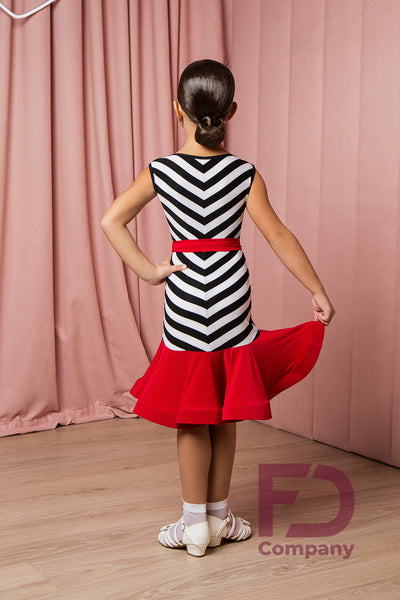 Fun and Eye-catching Sleeveless Latin Dress with black & white pattern and gorgeous ruffle hemline.  Made with stretch crepe.  Perfect for Practice, Competition or Performance. ALWAYS check with your coach for DanceSport regulations in your area.
