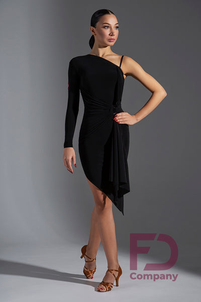 One Shoulder Dress with Single Sleeve in Various Colours PL-243