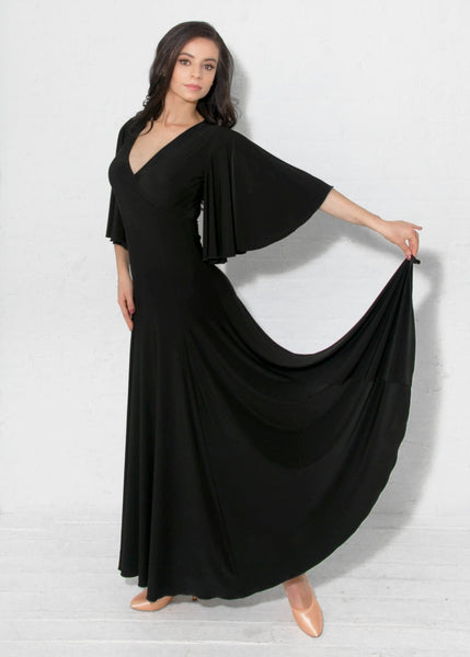 miari long ballroom dress with angel sleeves v neckline and maxi skirt from dancewear for you australia free shipping