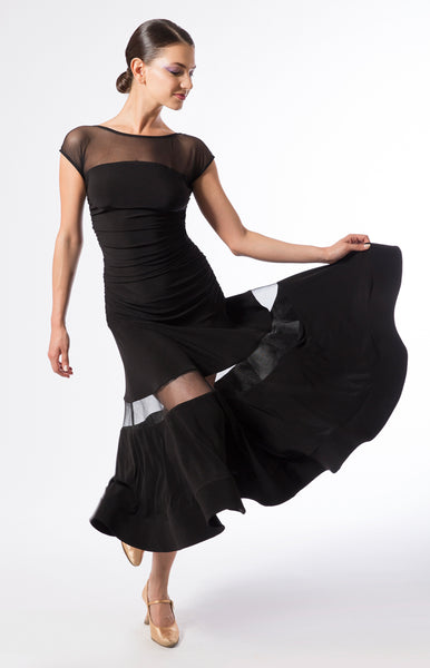 Ballroom practice dress with stretch net upper part, crinoline inserts and rouched detailing around sides with a 3/4 length skirt.  Perfect for ballroom practice, performance and DanceSport.  Made with luxury crepe from dancewear for you and sasuel design