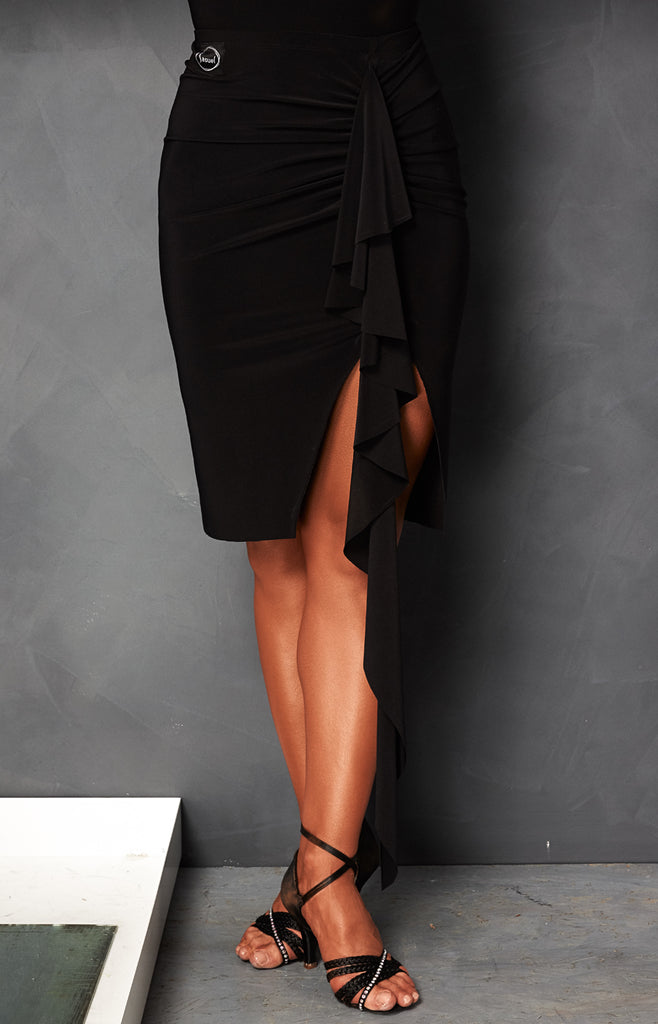 short latin skirt with rouched detail from dancewear for you australia