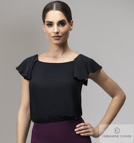 A slightly looser fitting top, with an elasticated banded bottom to either wear out or tuck in of your skirt/trousers. Pretty butterfly frill sleeves add the subtle movement whist you dance. Made CHRISANNE CLOVER Luxury Crepe.  free shipping from dancewear for you australia
