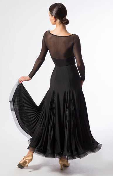 ballroom skirt with pleated pearl chiffon inserts.  Wear it with a simple leotard for practice nights or a jewelled top for spectacular show.  Perfect for ballroom practice, performance and DanceSport.  Made with luxury crepe from dancewear for you australia and sasuel