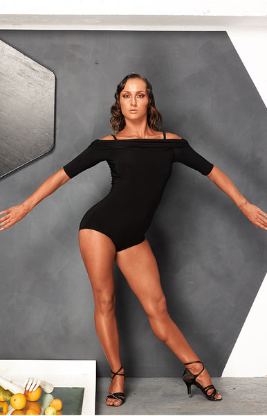 sasuel off the shoulder bodysuit, leotard in black from dancewear for you australia