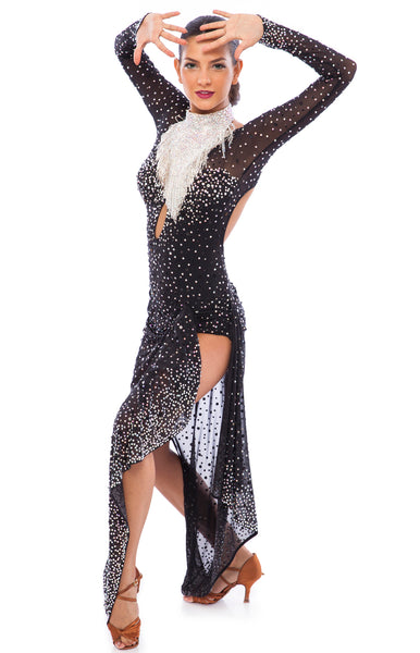 Sexy latin dress, covered with full Swarovski and Preciosa AB crystals, on black stretch mesh fabric, asymmetrical skirt, bare back and bare leg for a latin and dynamic effect on the dance floor.  The necklace is included, full of Swarovski beads and flatback crystals.