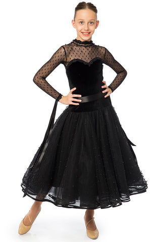 Elegant velvet and pearled tulle ballroom dress, with long sleeves and polka dots, matte pearls on the skirt, satin ribbon on sleeves and waist. The skirts length is 3/4.  Available on order in any other colour combination and size.  Made to measure upon request