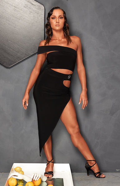 sasuel asymmetrical latin and tango dance skirt with cut-out at the hip from dancewear for you australia with free shipping