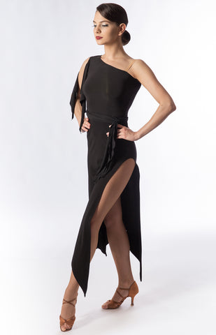 Latin dress asymmetrical on the shoulder, longline, figure hugging silhouette, with high slit on one leg, short frill and belt with knot as detailing.  Perfect for Latin or Tango practice, performance or dancesport from dancewear for you australia