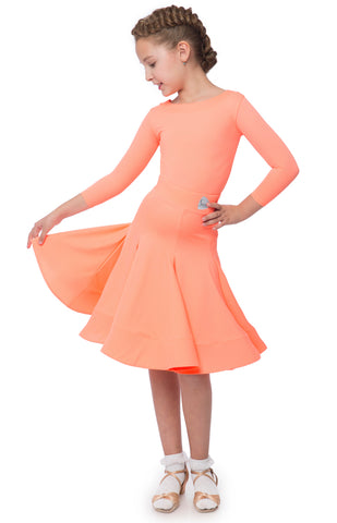 Juvenile dress premium lycra, 2 piece, 3/4 sleeved leotard and lycra panelled skirt crinoline hem. Juvenile I and II W.D.S.F dress regulations from dancewear for you australia juvenile dancesport dress australia