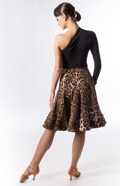 panelled latin skirt with hidden crinoline hem.   Available in 4 different types of fabric: black luxury crepe, matte lycra and leopard or zebra print.  Perfect for Latin practice, performance or dancesport from dancewear for you australia and sasuel