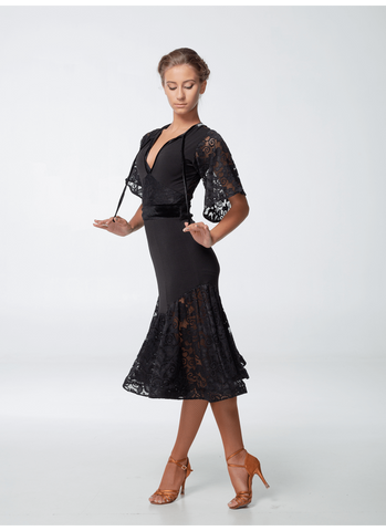 Dance Me Latin & Cocktail Dress PL454-11 is available in Black in sizes 38-M.  Other sizes are available on special order just drop me a line.  An elegant and versatile dress made with stretch crepe and lace.