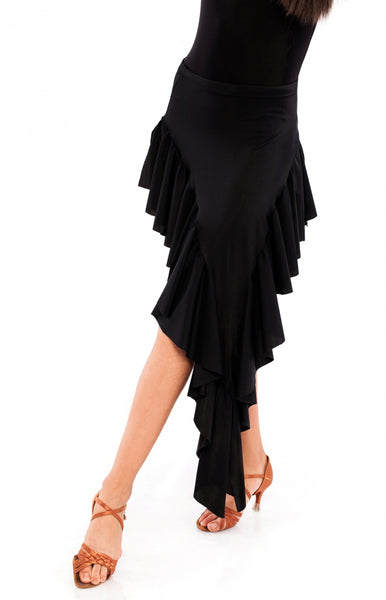 Latin lycra practice skirt, with assymetrical frills that give a sassy spin to the look.Elastic waitsband.