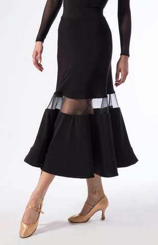 ballroom skirt with a 3/4 length, see-through insert and hidden crinoline at the hemline