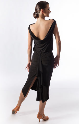 Latin & Evening Wear Dress with draping detail at the back, slim fit skirt, with high split at back and frill attached for dynamic movement.  Perfect for Latin or Tango practice, performance or dancesport. from dancewear for you australia