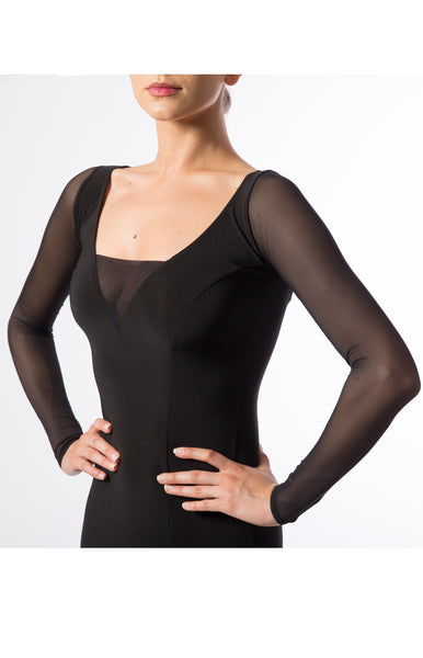 Elegant ballroom practice dress made with luxury crepe fabric, with georgette inserts, long sleeves in stretch net and full crinoline hemline.  Perfect for ballroom practice, performance and DanceSport. from dancewear for you australia