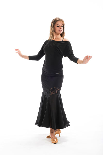 black ballroom dance skirt with lace inset from dancewear for you australia