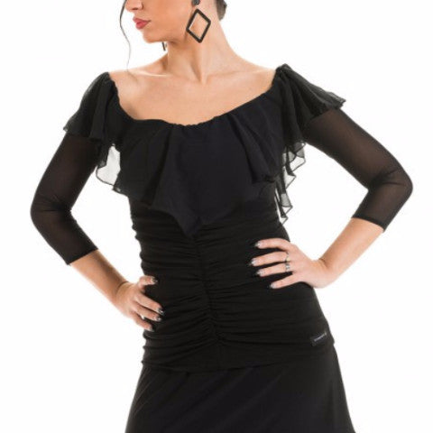 ladies black top with sheer mesh three quarter sleeves and boat neck or off the shoulder neckline made in Italy from dancewear for you Australia