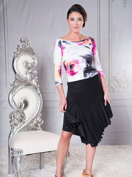FREE AUSTRALIA-WIDE SHIPPING with tracking!  A flirty and feminine latin skirt with an asymmetric hem, complemented by rows of massive ruffles for added movement.  Perfect for lessons, evening wear or performance!