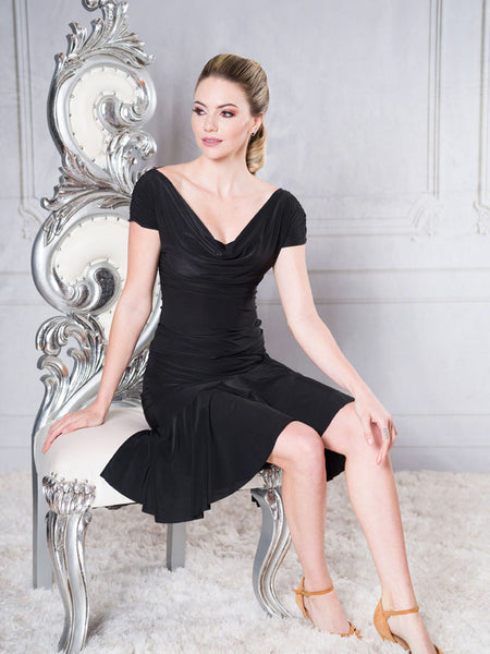 FREE AUSTRALIA-WIDE SHIPPING with tracking!  This mid-length faux wrap skirt has an asymmetric wide ruffled hemline with a panel that ties over the left hip.  Lots of movement in this garment while keeping clean lines.  Perfect for lessons, competition, evening wear or performance!