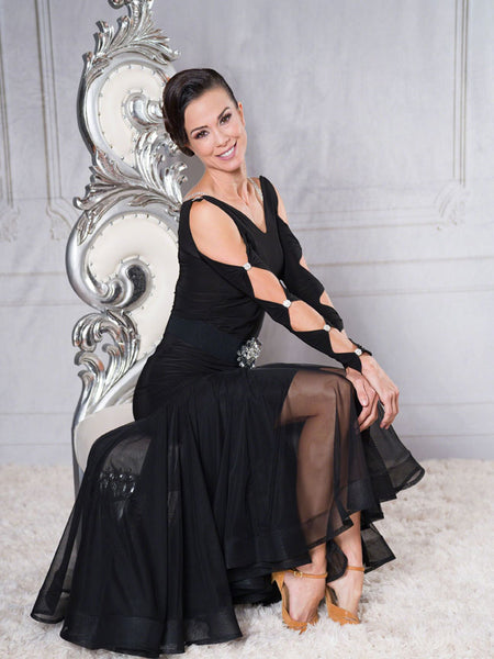 FREE AUSTRALIA-WIDE SHIPPING with tracking!  Ankle length powermesh ballroom skirt with extended saddle provides a stunning shape.  You will look like you are walking on a cloud!  Perfect for special occasions, competition, evening wear or performance!
