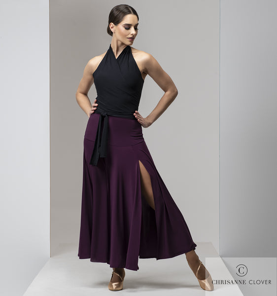 Chrisanne Clover Temptress Ballroom Skirt in Black or Plum  ballroom skirt with thigh high side split, 4 panel skirt from ballroom, smooth or paso doble from dancewear for you in perth with free shipping australia