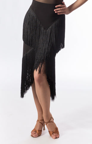 long fringe latin skirt with v shape fringe to elongate the body from dancewear for you australia and sasuel costume design