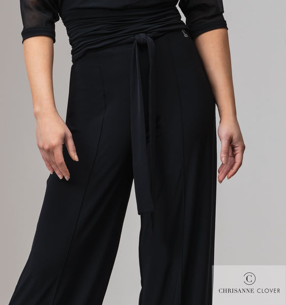 Chrisanne Clover Vogue Practice Trousers in Black or Plum.  ladies comfy stretch trousers for dancewear or day wear with fabric tie belted waist from dancewear for you australia free shipping