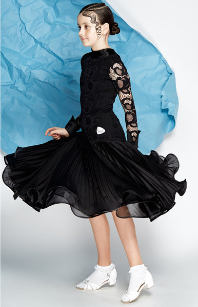 girls juvenile  ballroom dress australia Elegant juvenile one piece dress, full lace top with long sleeves and satin cuffs, satin neckline, dropped waist pleated pearl chiffon skirt, organza underlayer with hidden crinoline hem.