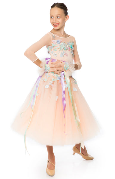 Ballroom dress in full tulle/net skirt, first layer is pleated in 3/4 length, the top decorated with  flowery embroidery, lace,  3d flowers and petals, in pastel colours. Short stretch mesh gloves with satin ribbons.  This stunning, fully completed, ready to wear Junior Ballroom DanceSport Competition Dress can be created in any colour and size.