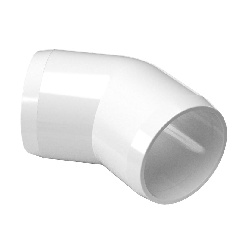 45 Ell PVC Furniture Grade Fitting - 45 Degree Angle - PVC Pipeworks