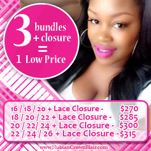 3 bundles and 1 closure | hair extensions | virgin human hair | brazilian bundle deal | 10 12 14 16 18 20 22 24 26 28 30 inch inches | brazilian | malaysian | peruvian 6a 7a 8a | closures lace