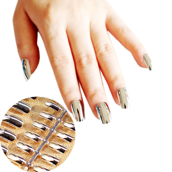 silver metallic fake nails | false nails | silver press on nails | silver glue on nails