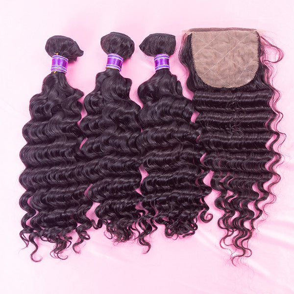 3 bundles and 1 closure | hair extensions | virgin human hair | brazilian bundle deal | 10 12 14 16 18 20 22 24 26 28 30 inch inches | brazilian | malaysian | peruvian 6a 7a 8a | 3 bundles lace closure closures