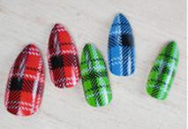 Plaid Stiletto Nails | False Nails | Acrylic nails | Fake nails | Artificial nails | glue on nails | Press on nails