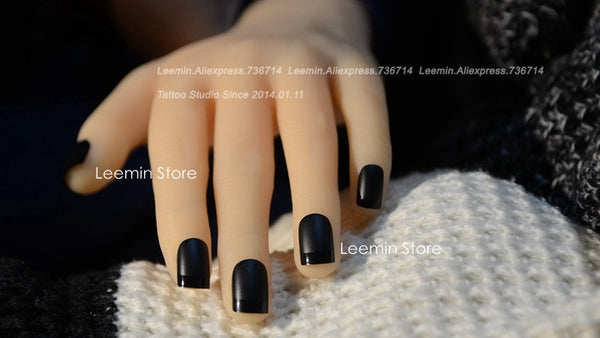 Black Matte Nails - black on black French