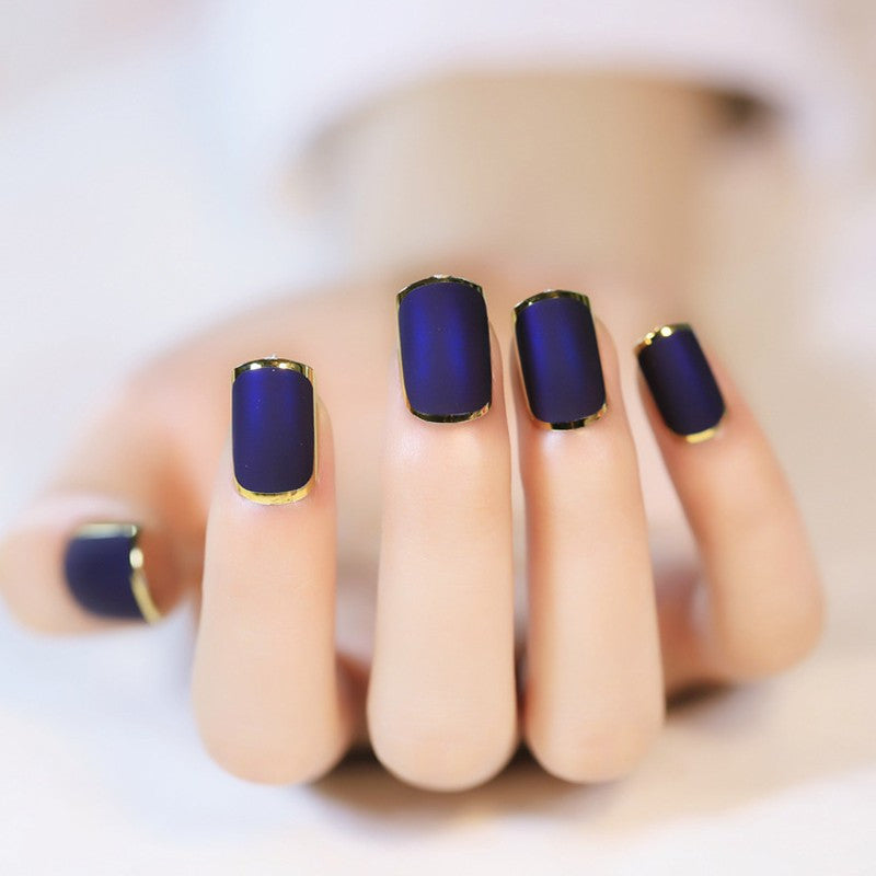 Blue Matte Press On Nails With Metallic Gold Rim