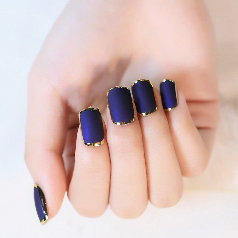 Blue Matte Press On Nails with Metallic Gold Rim | False Nails ...