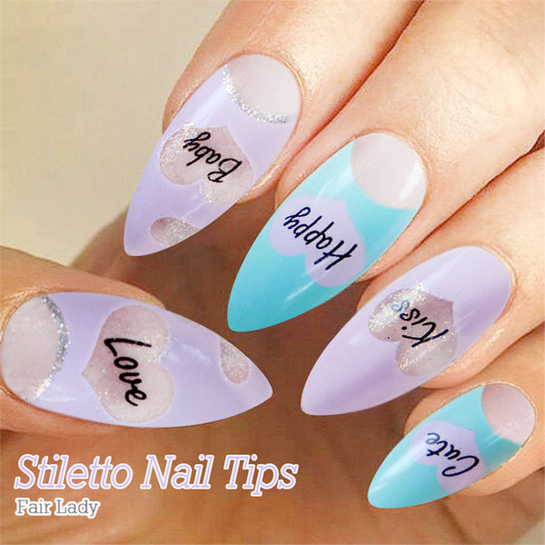 12 Designs Stilletto Nails = choose from 12 different color press on nails