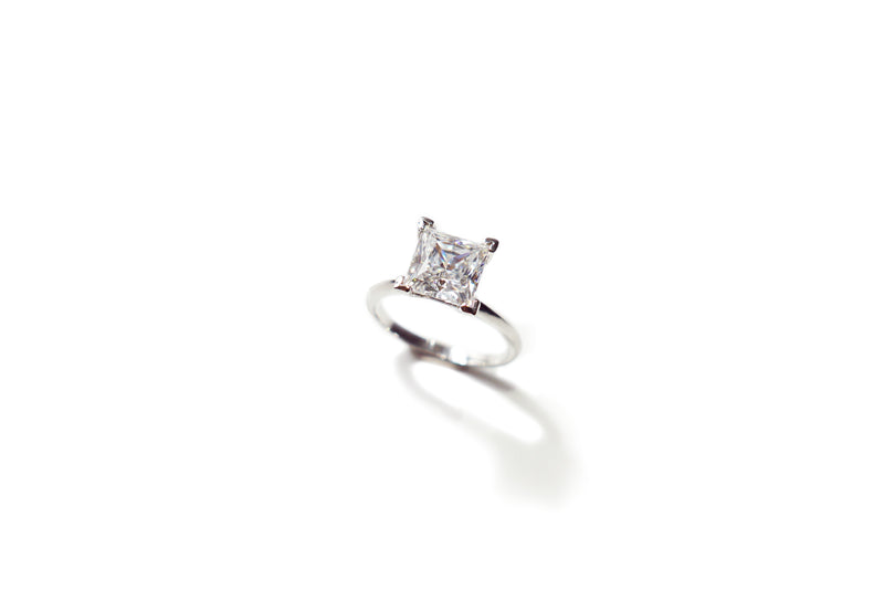 Princess cut Solitaire Ring (1ct, 2ct, 3ct)
